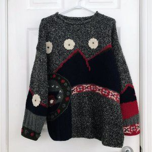 Vintage Wool Blend Abstract Nordic Sweater